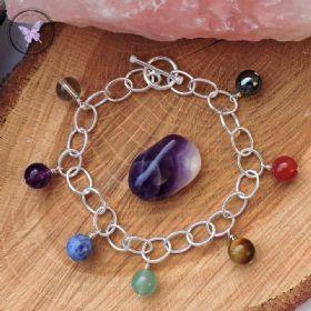 Sterling Silver Chakra Charm Bracelet